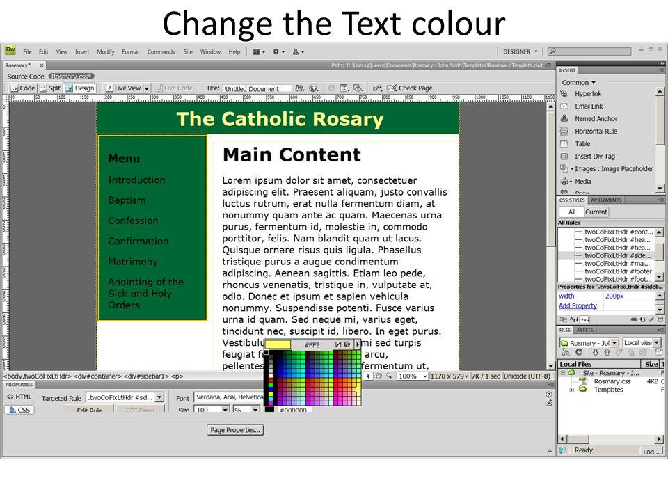Change the Text colour