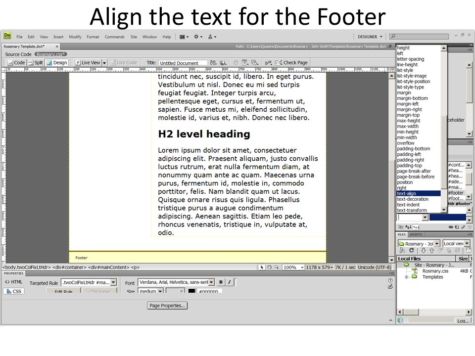 Align the text for the Footer