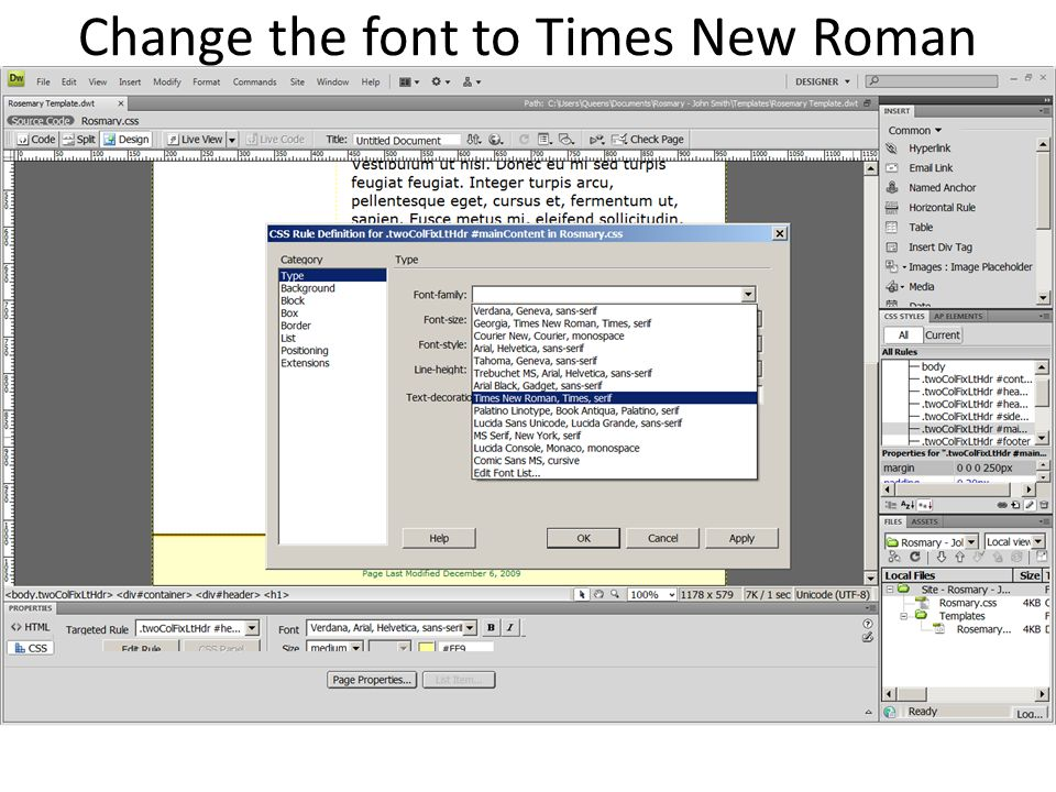 Change the font to Times New Roman