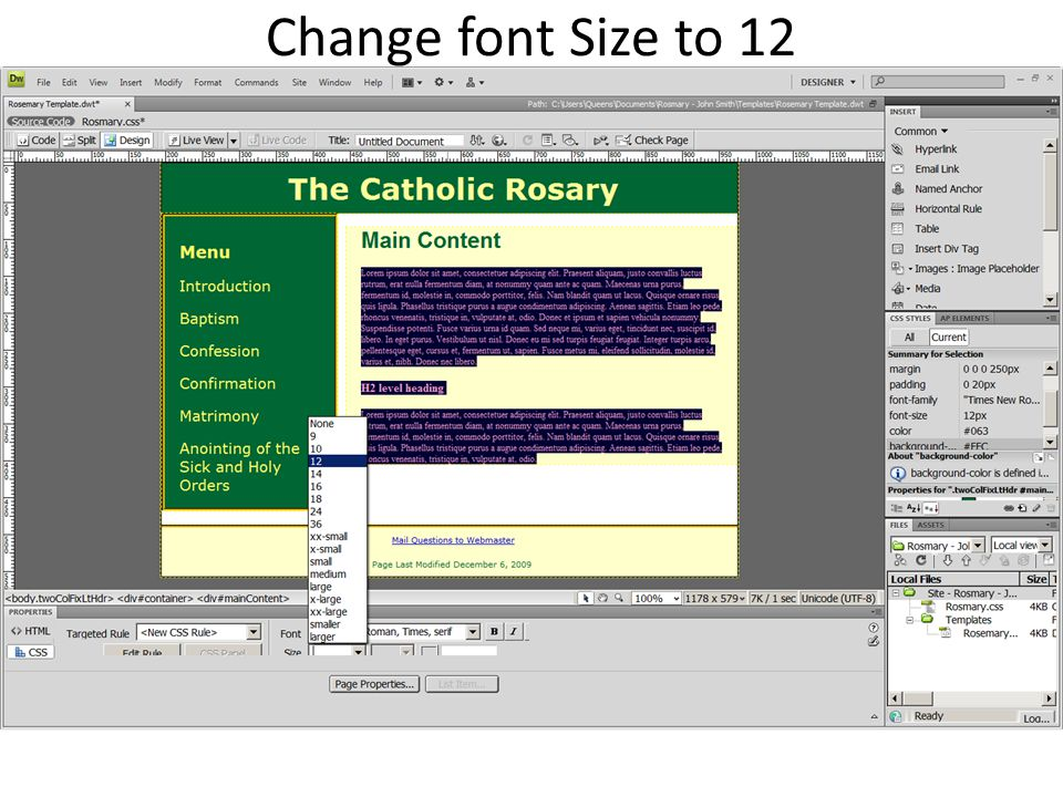Change font Size to 12