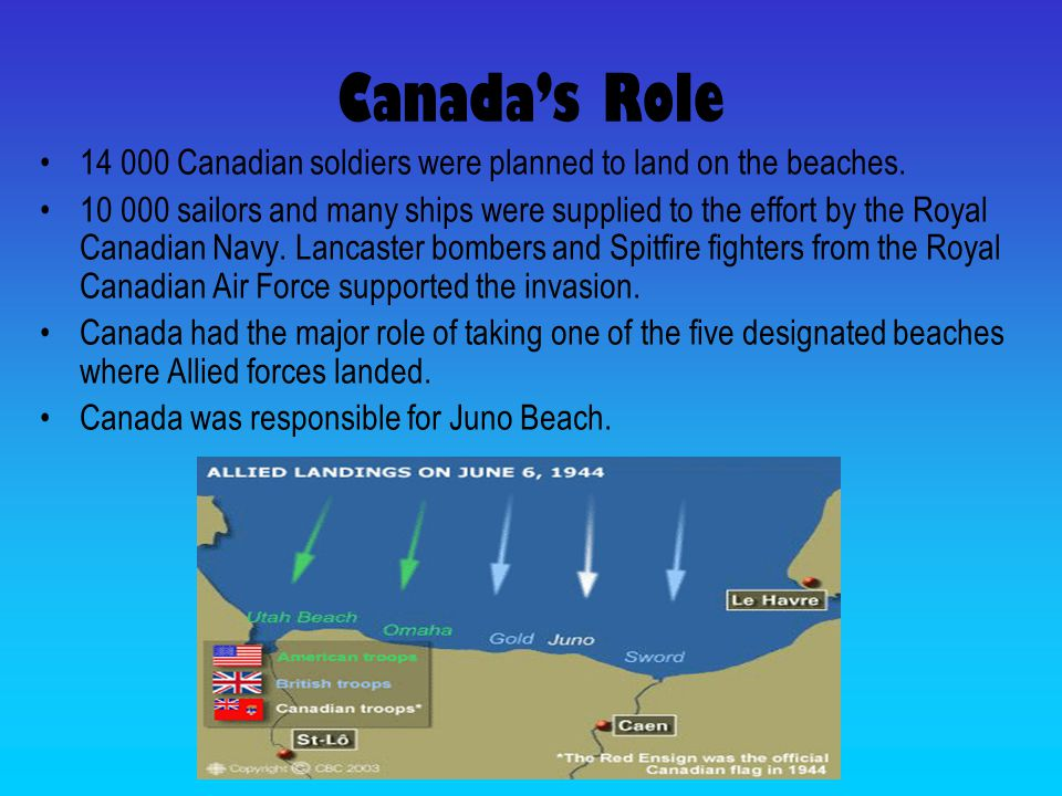 Canada's Role Canadian soldiers were planned to land on the beaches.