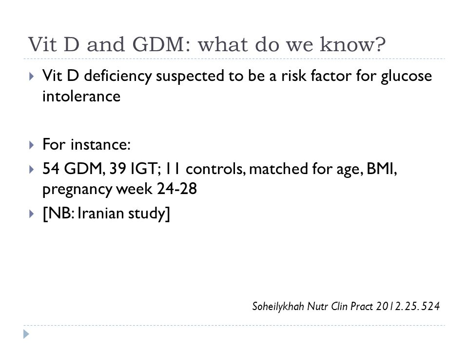 Vit D and GDM: what do we know.