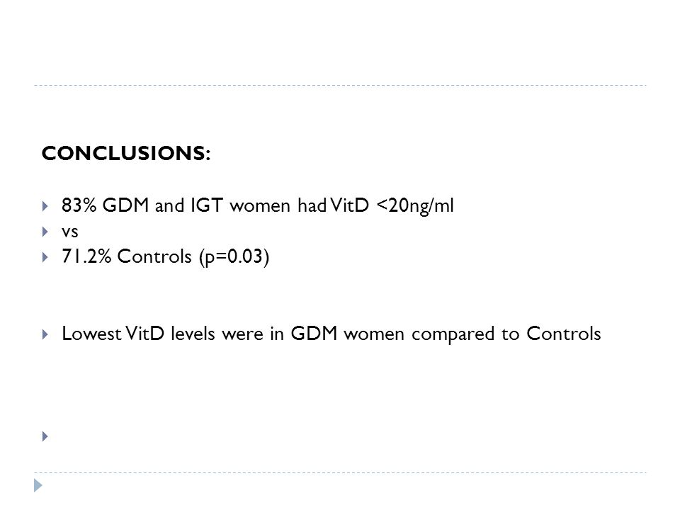 CONCLUSIONS:  83% GDM and IGT women had VitD <20ng/ml  vs  71.2% Controls (p=0.03)  Lowest VitD levels were in GDM women compared to Controls 