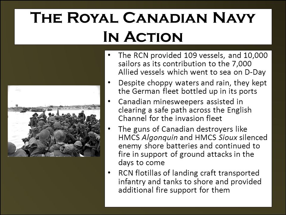 Allied Accomplishments On D-Day The Second Front The British and Americans had also come ashore and pushed inland The Allied forces soon formed a continuous front By the end of D-Day, the Allies had landed 155,000 troops in France by sea and air 6,000 vehicles including 900 tanks, 600 guns and about 4,000 tons of supplies were also brought ashore The Western Front had to be secured and expanded to prevent the German Army from driving the Allies back into the sea