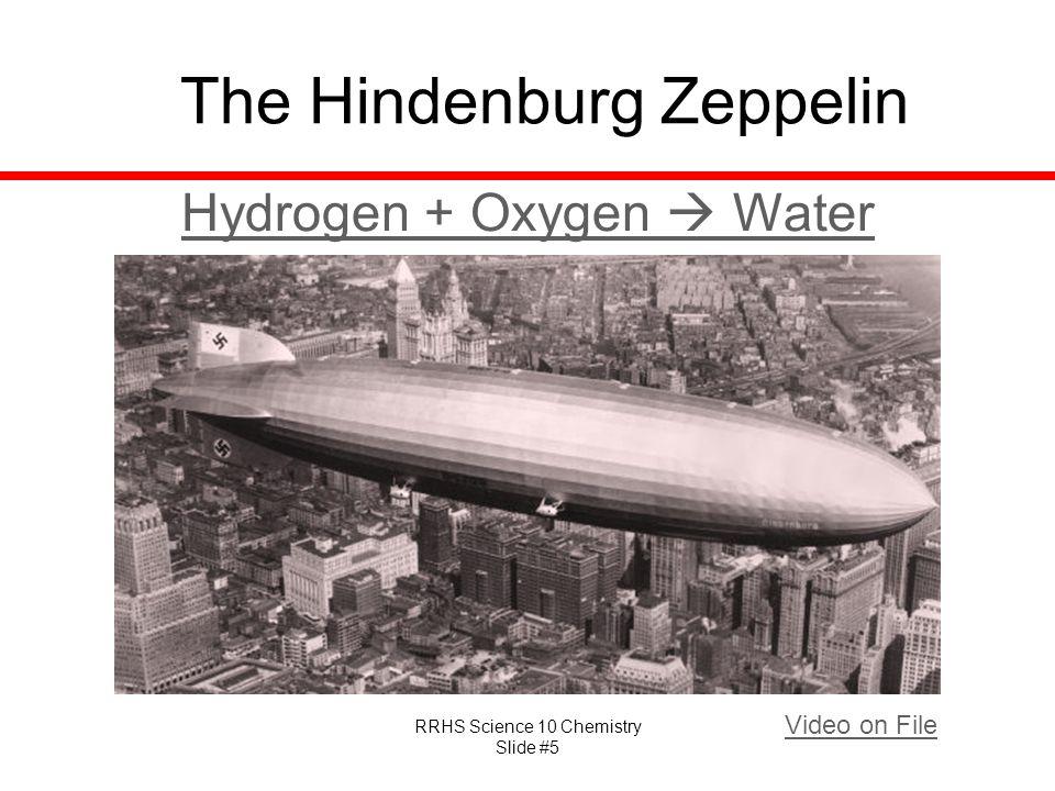 RRHS Science 10 Chemistry Slide #5 The Hindenburg Zeppelin Video on File Hydrogen + Oxygen  Water