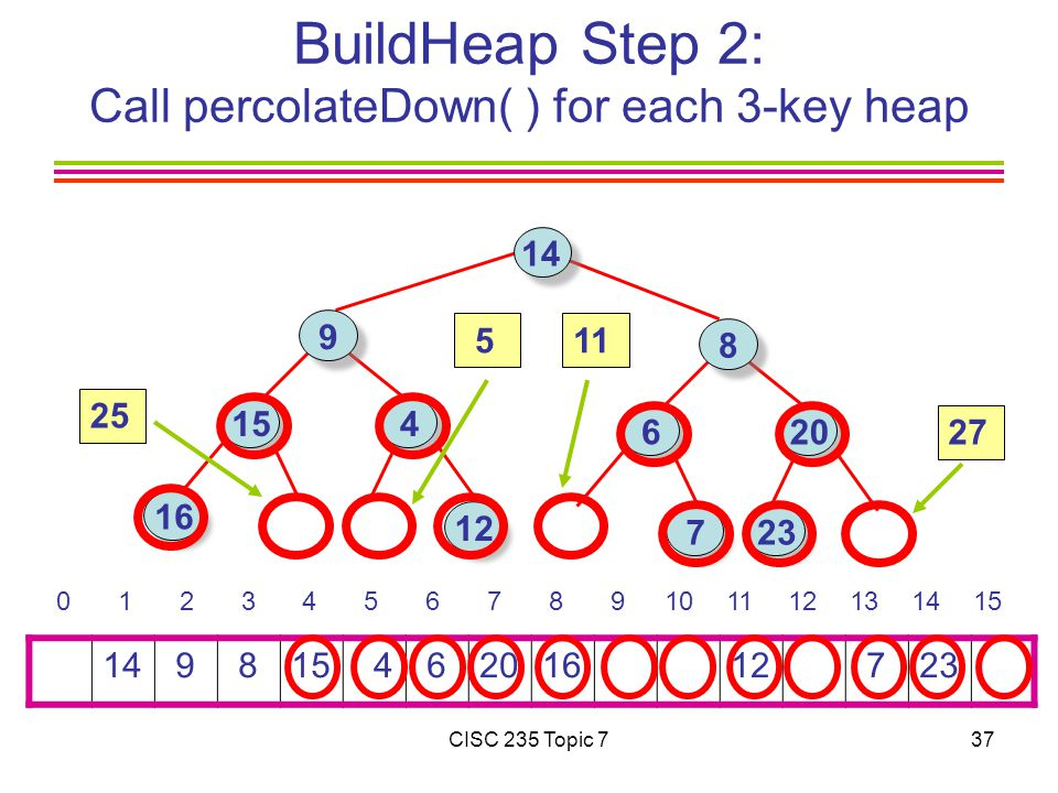 CISC 235 Topic 737 BuildHeap Step 2: Call percolateDown( ) for each 3-key heap