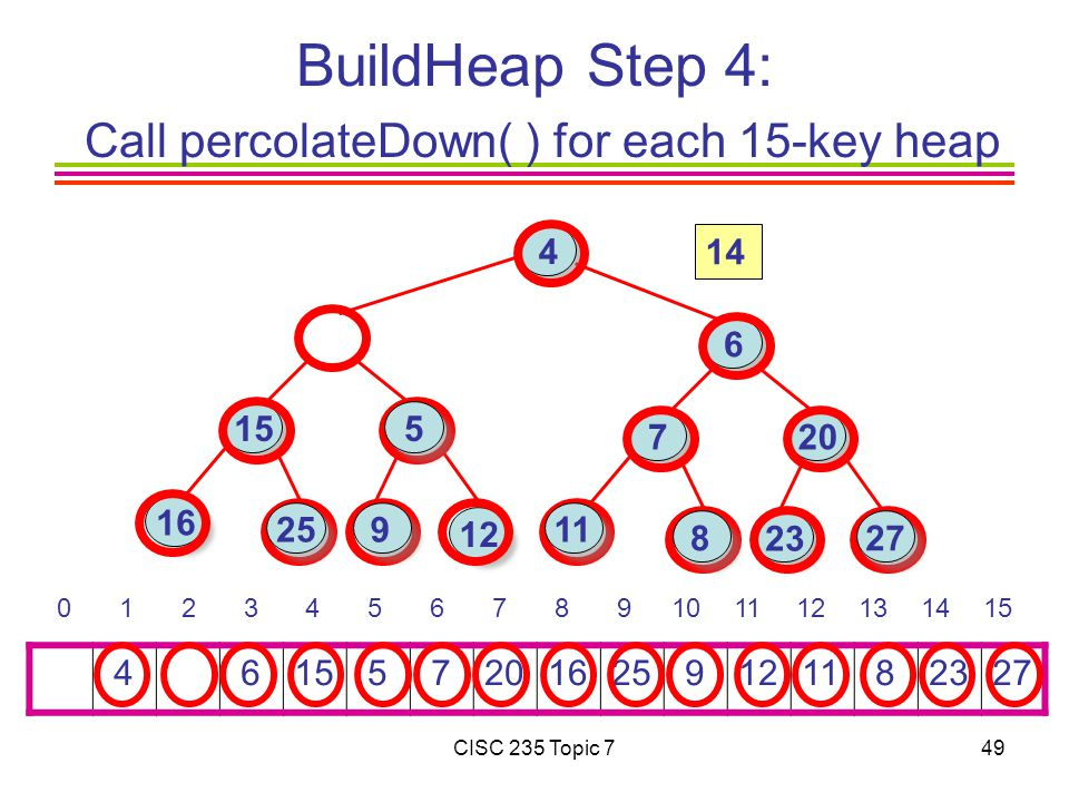 CISC 235 Topic 749 BuildHeap Step 4: Call percolateDown( ) for each 15-key heap 4 615 5 7201625 91211 82327 0 1 2 3 4 5 6 7 8 9101112131415 16 15 4 6 7 23 12 20 25 27 11 5 8 9 14