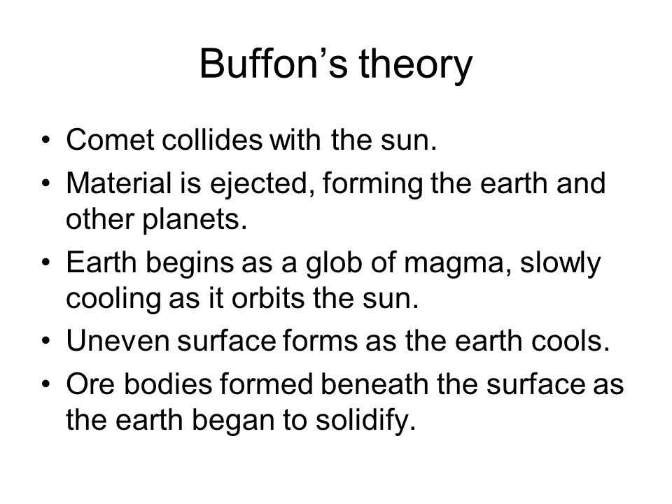 Buffon's theory Comet collides with the sun.