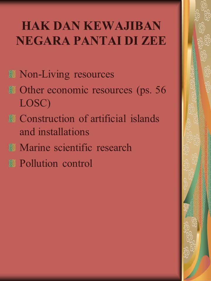 HAK DAN KEWAJIBAN NEGARA PANTAI DI ZEE Non-Living resources Other economic resources (ps. 56 LOSC) Construction of artificial islands and installation