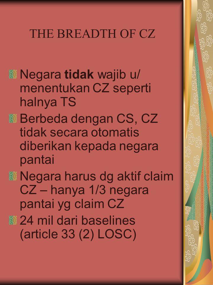 THE BREADTH OF CZ Negara tidak wajib u/ menentukan CZ seperti halnya TS Berbeda dengan CS, CZ tidak secara otomatis diberikan kepada negara pantai Neg