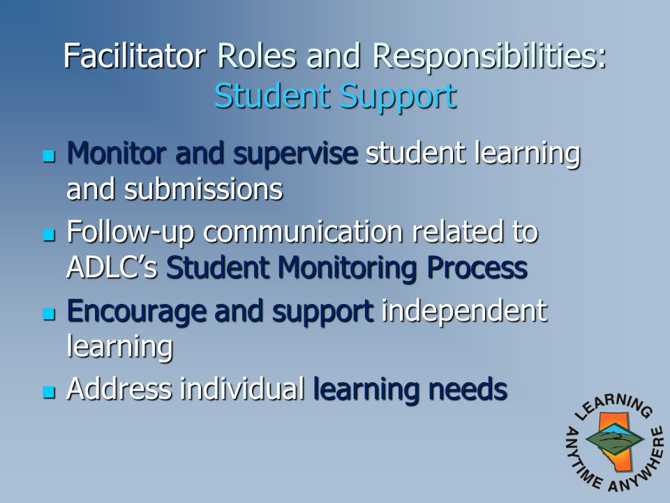Facilitator Roles and Responsibilities: Student Support Monitor and supervise student learning and submissions Monitor and supervise student learning