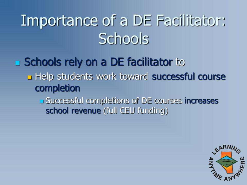 Importance of a DE Facilitator: Schools Schools rely on a DE facilitator to Schools rely on a DE facilitator to Help students work toward successful c