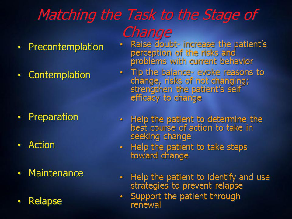 Matching the Task to the Stage of Change Precontemplation Contemplation Preparation Action Maintenance Relapse Precontemplation Contemplation Preparation Action Maintenance Relapse Raise doubt- increase the patient's perception of the risks and problems with current behavior Tip the balance- evoke reasons to change, risks of not changing; strengthen the patient's self efficacy to change Help the patient to determine the best course of action to take in seeking change Help the patient to take steps toward change Help the patient to identify and use strategies to prevent relapse Support the patient through renewal