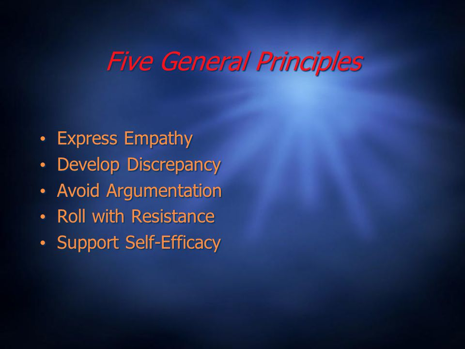 Five General Principles Express Empathy Develop Discrepancy Avoid Argumentation Roll with Resistance Support Self-Efficacy Express Empathy Develop Discrepancy Avoid Argumentation Roll with Resistance Support Self-Efficacy