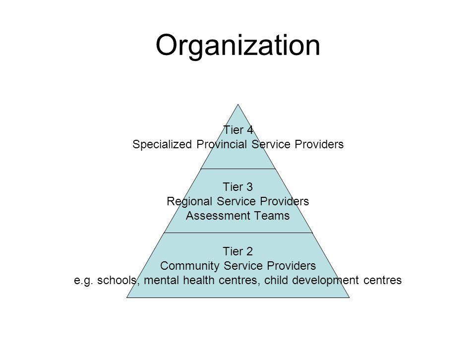 Organization Tier 4 Specialized Provincial Service Providers Tier 3 Regional Service Providers Assessment Teams Tier 2 Community Service Providers e.g.
