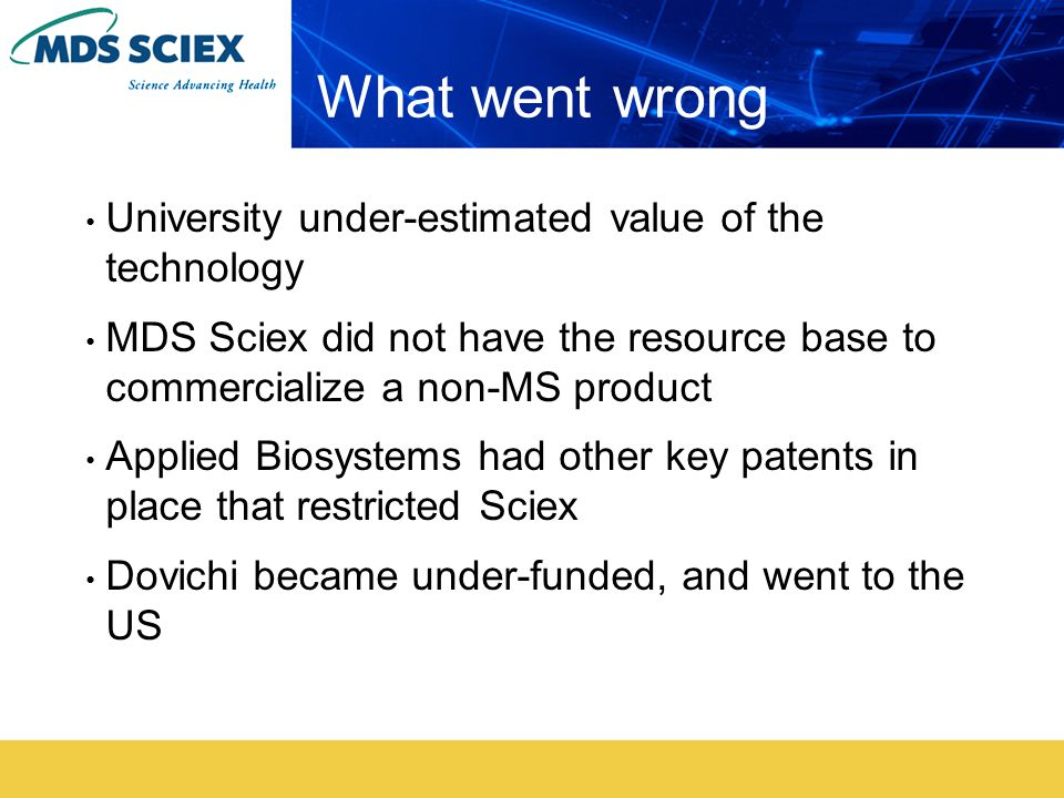 What went wrong University under-estimated value of the technology MDS Sciex did not have the resource base to commercialize a non-MS product Applied Biosystems had other key patents in place that restricted Sciex Dovichi became under-funded, and went to the US