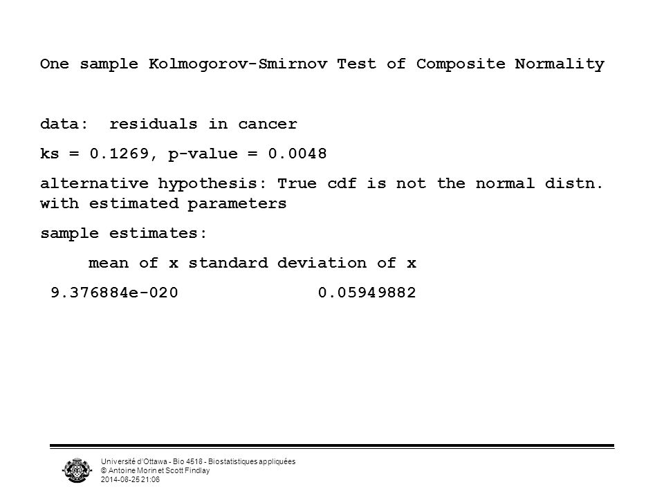 Université d'Ottawa - Bio 4518 - Biostatistiques appliquées © Antoine Morin et Scott Findlay 2014-08-25 21:07 One sample Kolmogorov-Smirnov Test of Composite Normality data: residuals in cancer ks = 0.1269, p-value = 0.0048 alternative hypothesis: True cdf is not the normal distn.