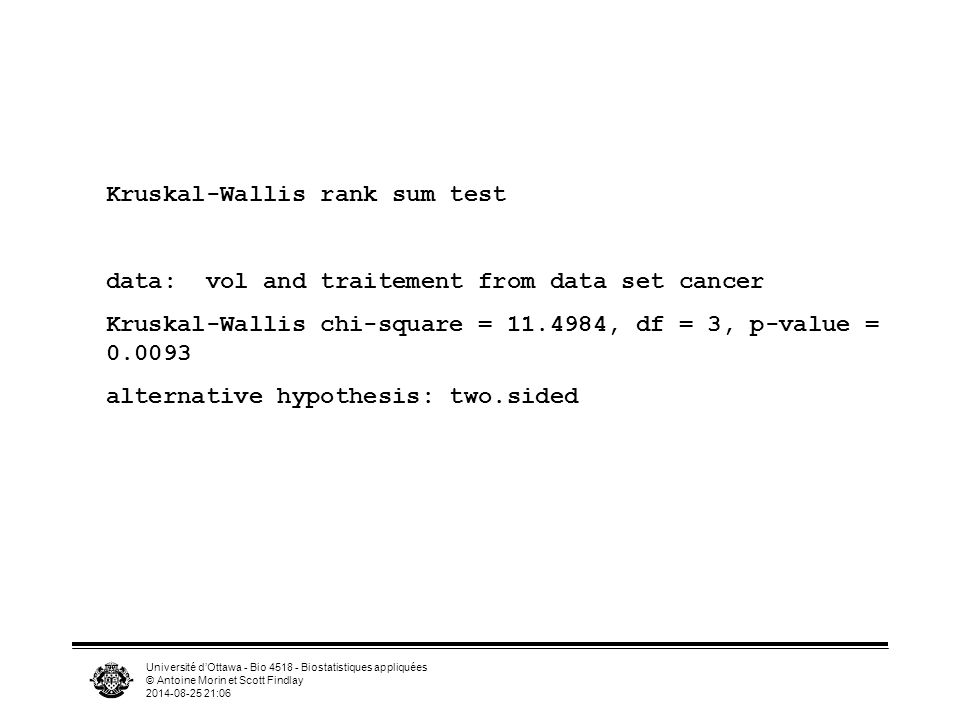 Université d'Ottawa - Bio 4518 - Biostatistiques appliquées © Antoine Morin et Scott Findlay 2014-08-25 21:07 Kruskal-Wallis rank sum test data: vol and traitement from data set cancer Kruskal-Wallis chi-square = 11.4984, df = 3, p-value = 0.0093 alternative hypothesis: two.sided