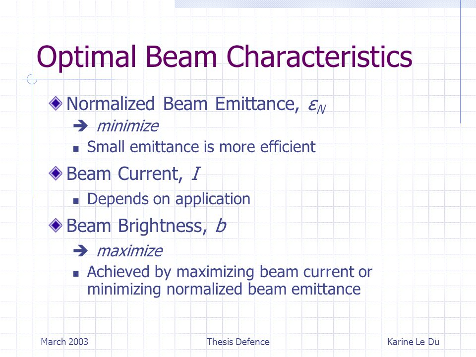 March 2003Thesis Defence Optimal Beam Characteristics Normalized Beam Emittance, ε N  minimize Small emittance is more efficient Beam Current, I Depends on application Beam Brightness, b  maximize Achieved by maximizing beam current or minimizing normalized beam emittance Karine Le Du