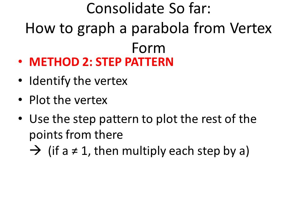 Consolidate So far: How to graph a parabola from Vertex Form METHOD 2: STEP PATTERN Identify the vertex Plot the vertex Use the step pattern to plot the rest of the points from there  (if a ≠ 1, then multiply each step by a)