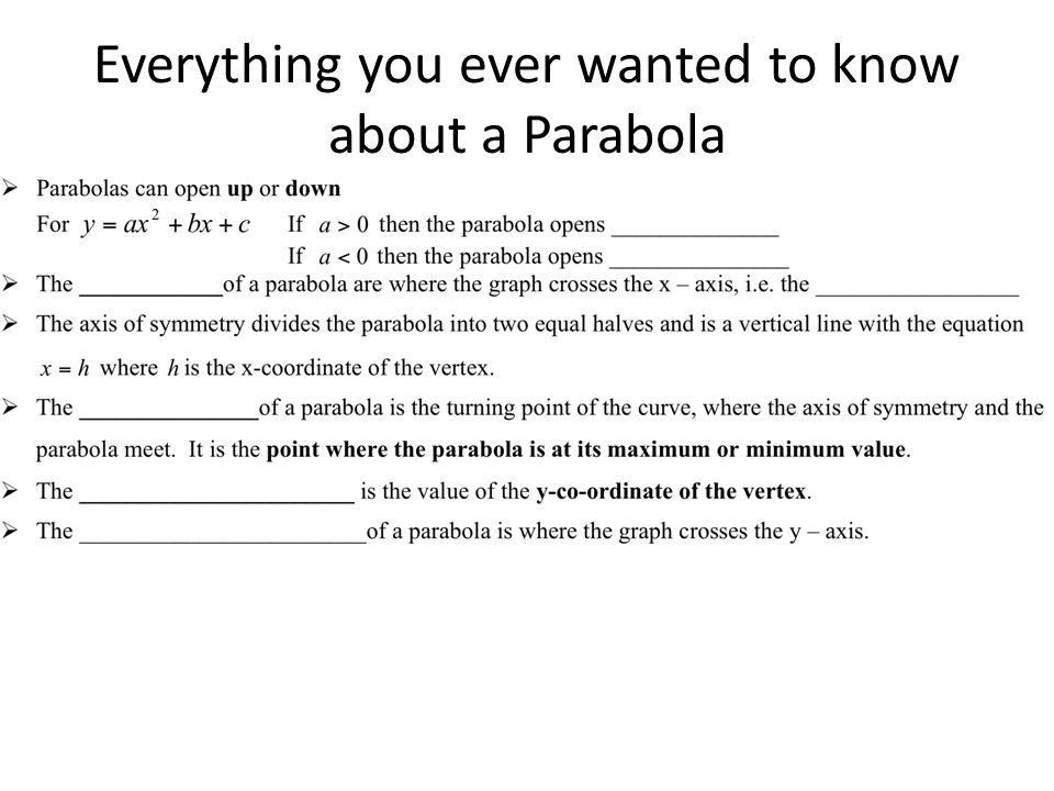 Everything you ever wanted to know about a Parabola