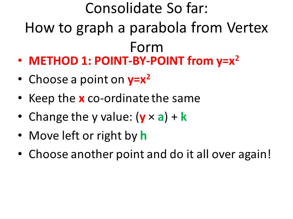 Consolidate So far: How to graph a parabola from Vertex Form METHOD 1: POINT-BY-POINT from y=x 2 Choose a point on y=x 2 Keep the x co-ordinate the sa