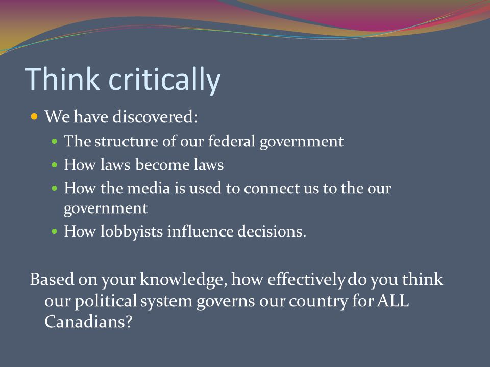 Think critically We have discovered: The structure of our federal government How laws become laws How the media is used to connect us to the our government How lobbyists influence decisions.
