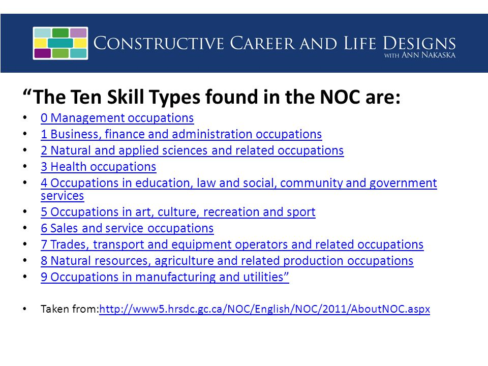 The Ten Skill Types found in the NOC are: 0 Management occupations 1 Business, finance and administration occupations 2 Natural and applied sciences and related occupations 3 Health occupations 4 Occupations in education, law and social, community and government services 4 Occupations in education, law and social, community and government services 5 Occupations in art, culture, recreation and sport 6 Sales and service occupations 7 Trades, transport and equipment operators and related occupations 8 Natural resources, agriculture and related production occupations 9 Occupations in manufacturing and utilities Taken from:http://www5.hrsdc.gc.ca/NOC/English/NOC/2011/AboutNOC.aspxhttp://www5.hrsdc.gc.ca/NOC/English/NOC/2011/AboutNOC.aspx