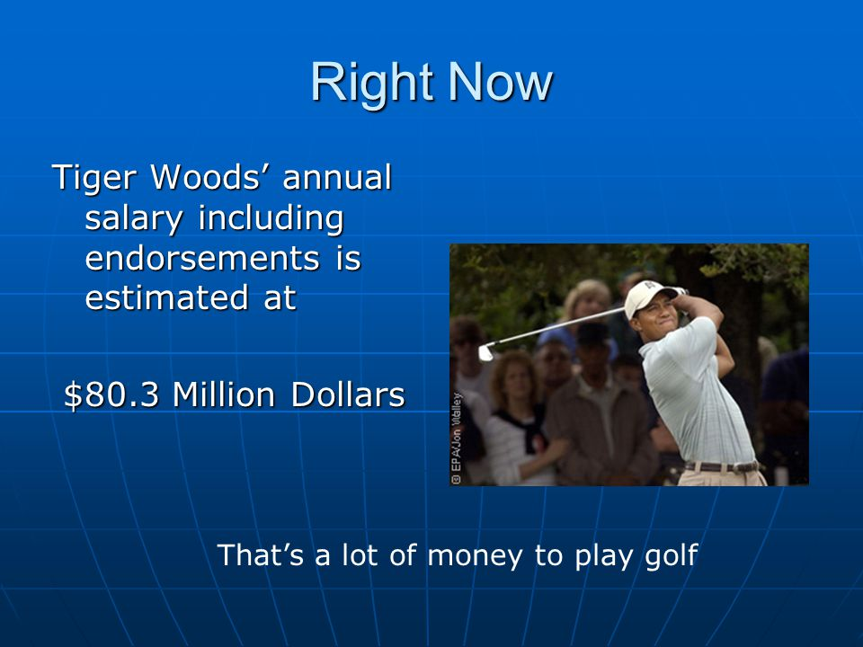 Right Now Tiger Woods' annual salary including endorsements is estimated at $80.3 Million Dollars That's a lot of money to play golf