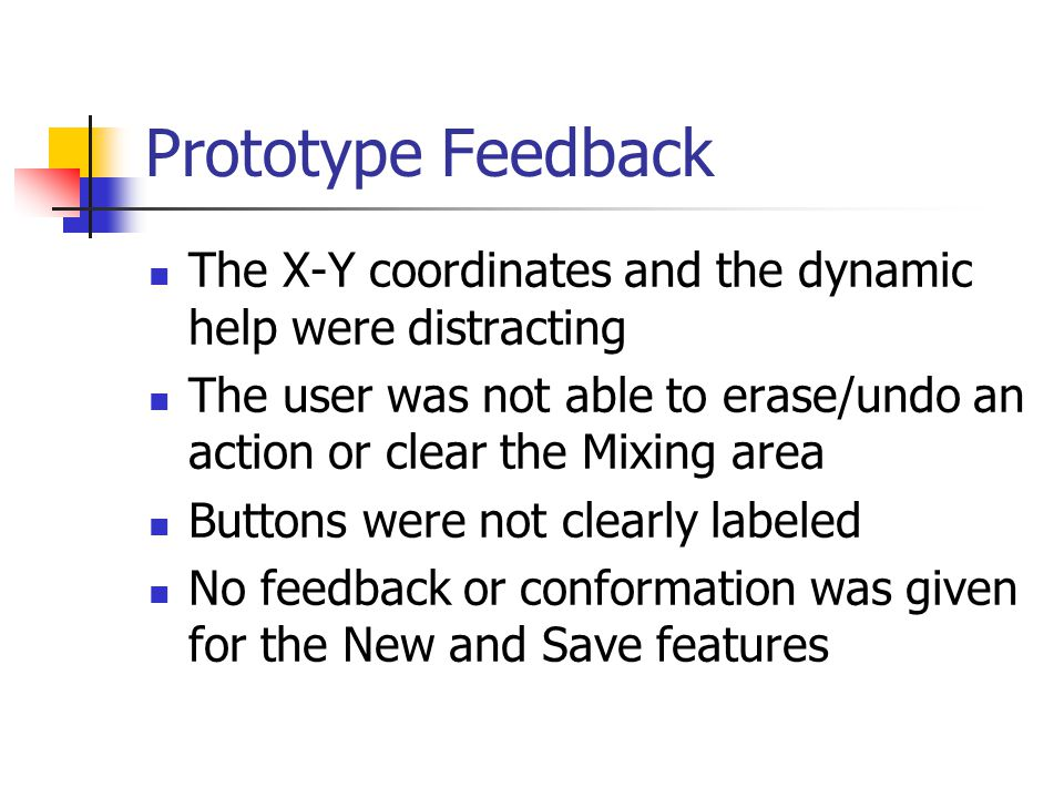 Prototype Feedback The X-Y coordinates and the dynamic help were distracting The user was not able to erase/undo an action or clear the Mixing area Bu