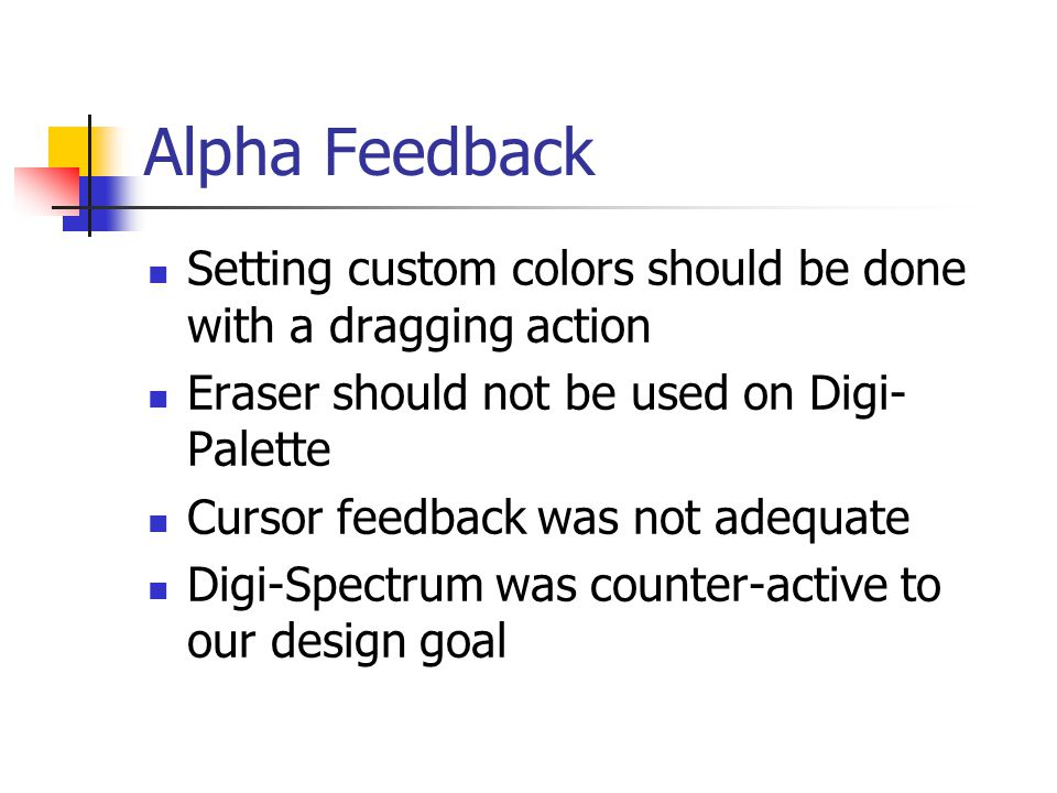 Alpha Feedback Setting custom colors should be done with a dragging action Eraser should not be used on Digi- Palette Cursor feedback was not adequate Digi-Spectrum was counter-active to our design goal
