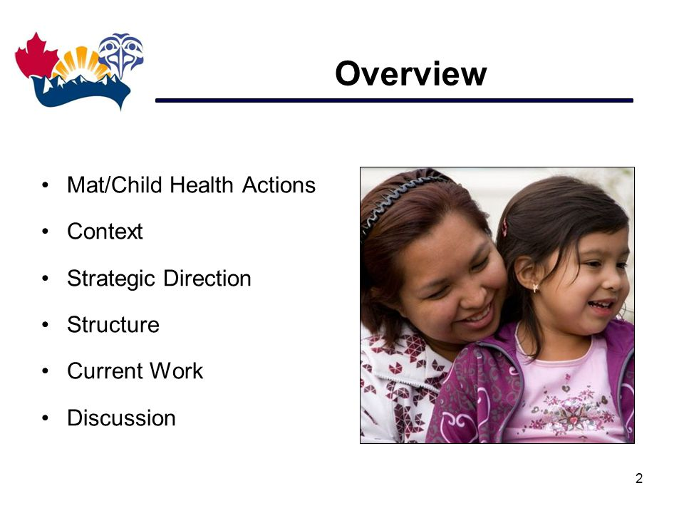 Overview Mat/Child Health Actions Context Strategic Direction Structure Current Work Discussion 2