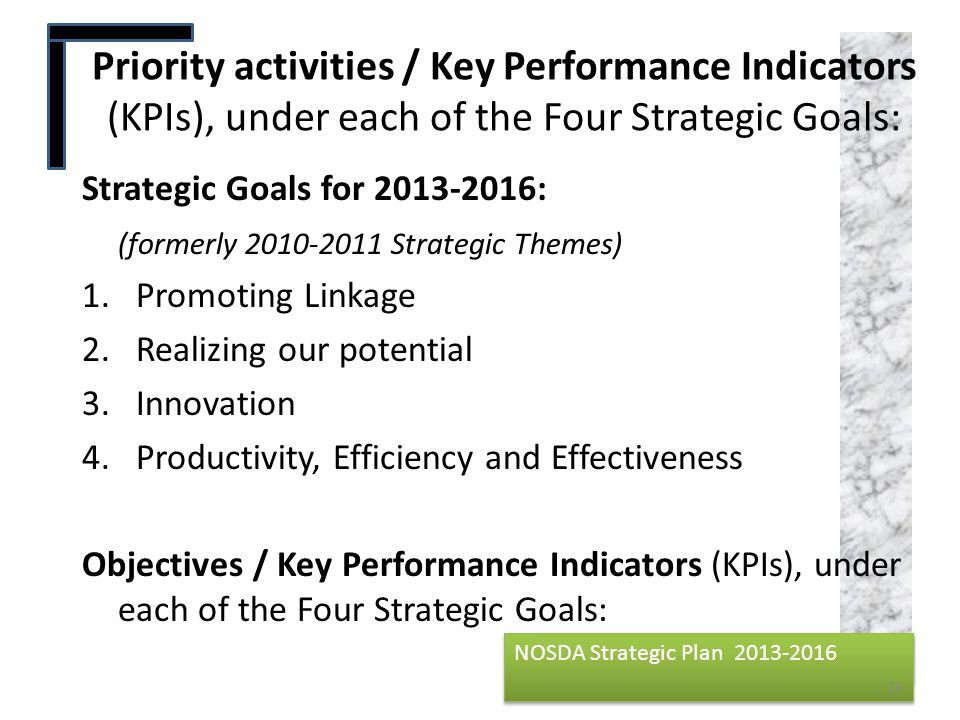NOSDA Strategic Plan 2013-2016 NOSDA Strategic Plan 2013-2016 Strategic Goals for 2013-2016: (formerly 2010-2011 Strategic Themes) 1.Promoting Linkage