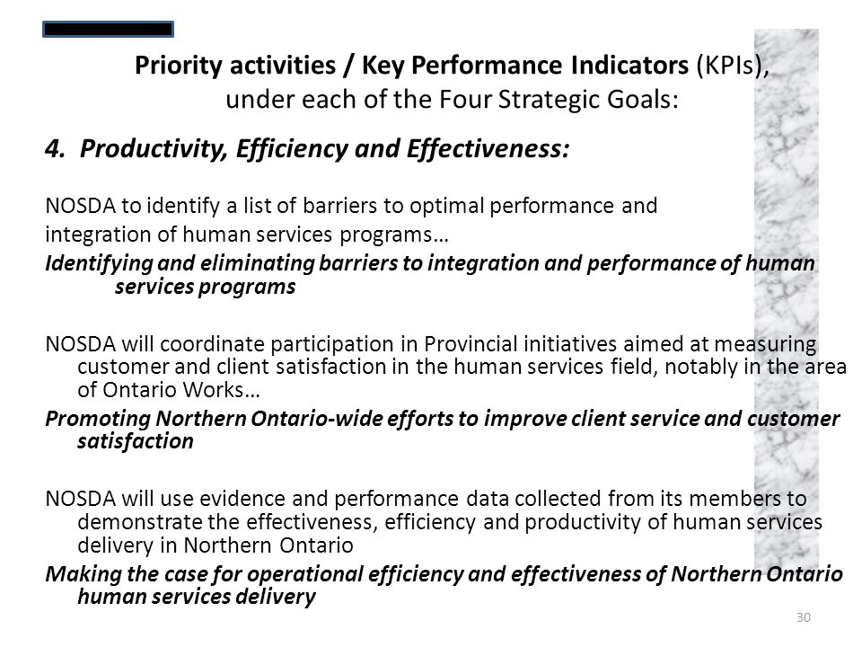 4. Productivity, Efficiency and Effectiveness: NOSDA to identify a list of barriers to optimal performance and integration of human services programs…