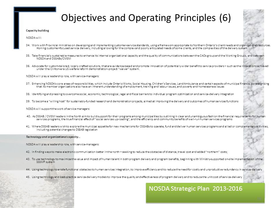 NOSDA Strategic Plan 2013-2016 NOSDA Strategic Plan 2013-2016 Objectives and Operating Principles (6) 38