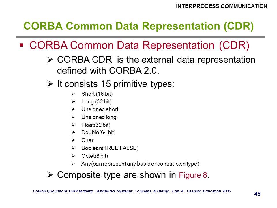 INTERPROCESS COMMUNICATION 45 CORBA Common Data Representation (CDR)  CORBA Common Data Representation (CDR)  CORBA CDR is the external data representation defined with CORBA 2.0.