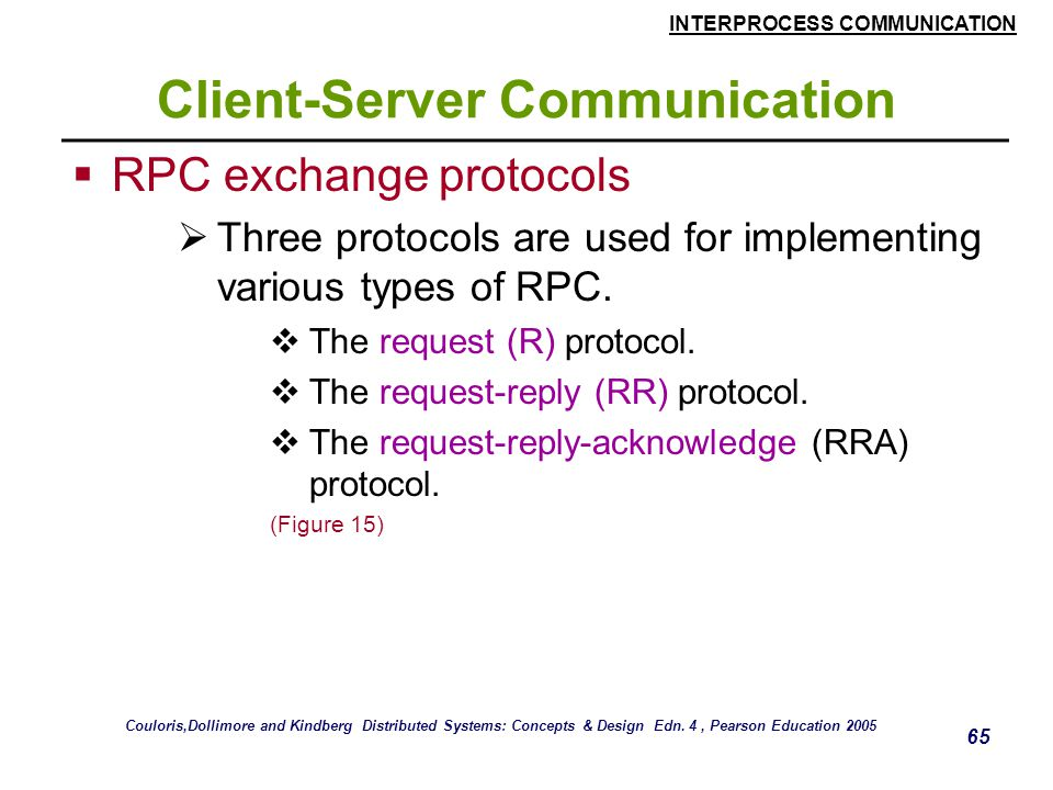 INTERPROCESS COMMUNICATION 65 Client-Server Communication  RPC exchange protocols  Three protocols are used for implementing various types of RPC.