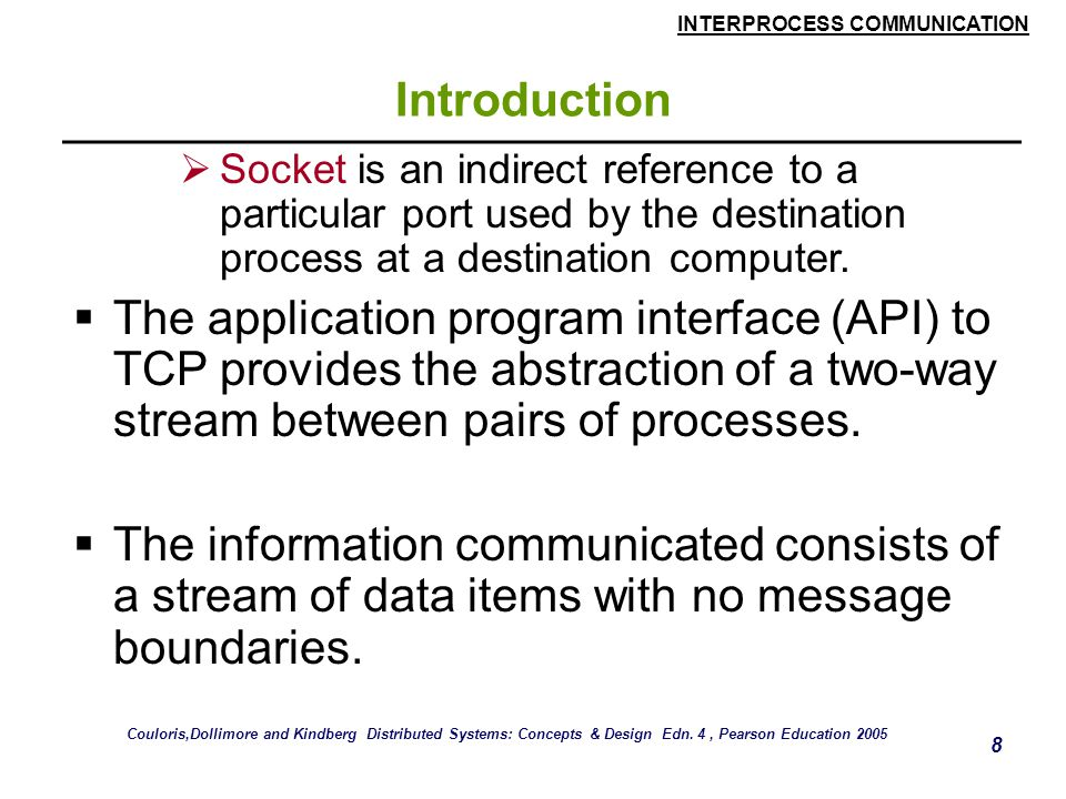 INTERPROCESS COMMUNICATION 8 Introduction  Socket is an indirect reference to a particular port used by the destination process at a destination computer.