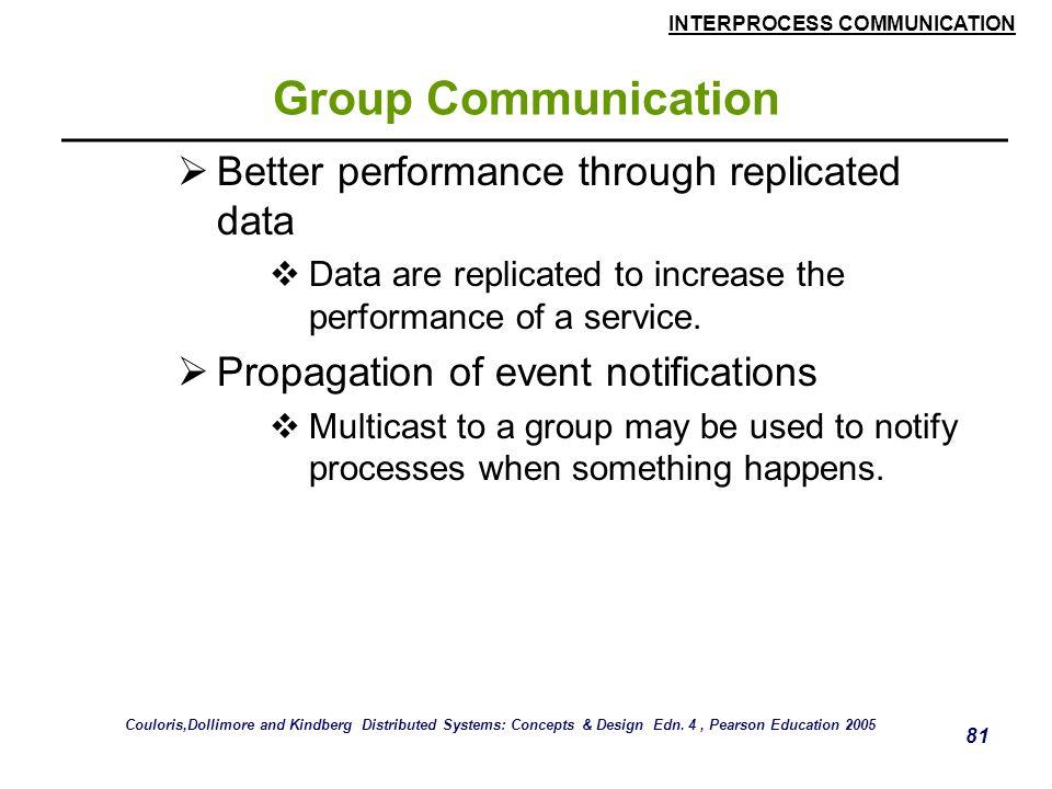 INTERPROCESS COMMUNICATION 81 Group Communication  Better performance through replicated data  Data are replicated to increase the performance of a service.