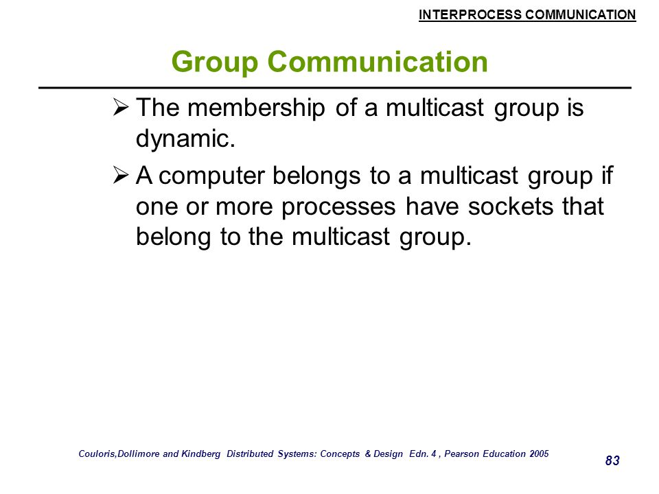 INTERPROCESS COMMUNICATION 83 Group Communication  The membership of a multicast group is dynamic.