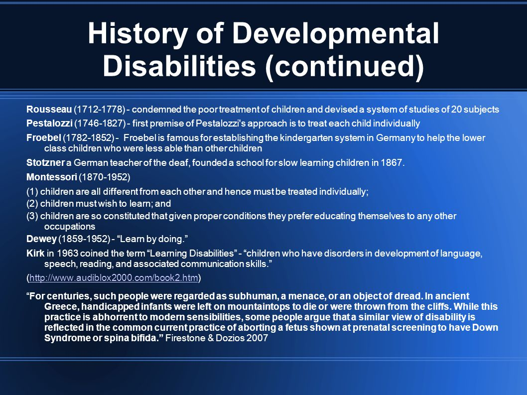 Pervasive Developmental Disorders - Autism (continued) (song) http://www.youtube.com/watch?v=cSdfCN5ewHY&http://www.youtube.com/watch?v=cSdfCN5ewHY& (song) http://www.youtube.com/watch?v=Xwq3LtPWm5k&http://www.youtube.com/watch?v=Xwq3LtPWm5k& (video) http://autismspeaks.player.abacast.com/asdvideoglossary-0.1/player/autismspeakshttp://autismspeaks.player.abacast.com/asdvideoglossary-0.1/player/autismspeaks Rainman movie made in 1988