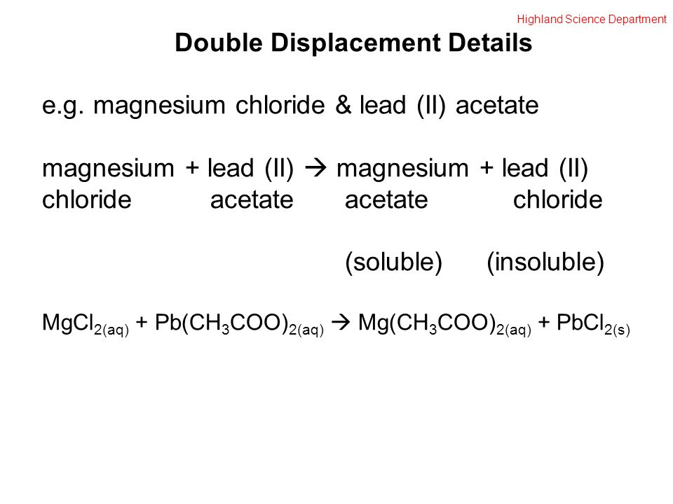 Highland Science Department Double Displacement Details e.g.