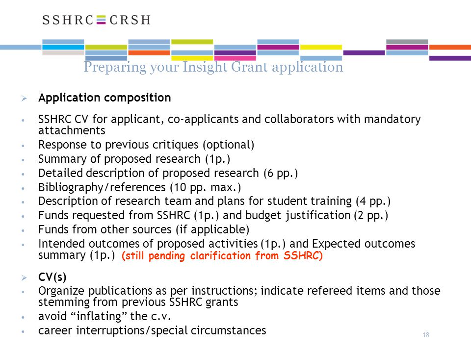 18 Preparing your Insight Grant application  Application composition SSHRC CV for applicant, co-applicants and collaborators with mandatory attachments Response to previous critiques (optional) Summary of proposed research (1p.) Detailed description of proposed research (6 pp.) Bibliography/references (10 pp.