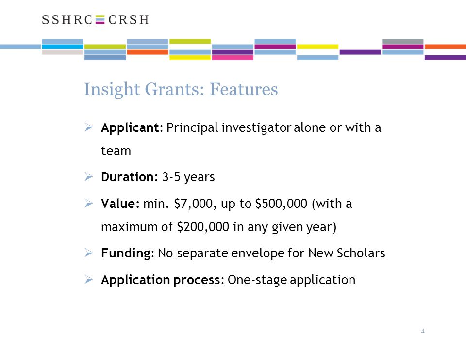 4 Insight Grants: Features  Applicant: Principal investigator alone or with a team  Duration: 3-5 years  Value: min. $7,000, up to $500,000 (with a