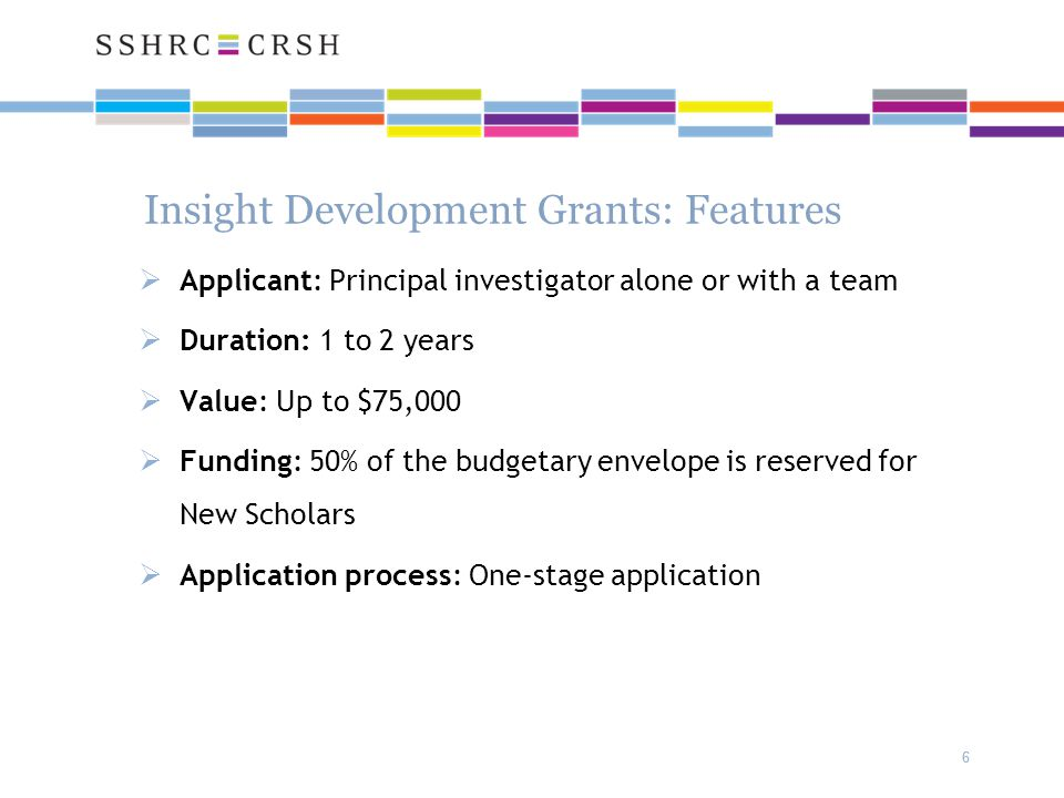 66 Insight Development Grants: Features  Applicant: Principal investigator alone or with a team  Duration: 1 to 2 years  Value: Up to $75,000  Funding: 50% of the budgetary envelope is reserved for New Scholars  Application process: One-stage application
