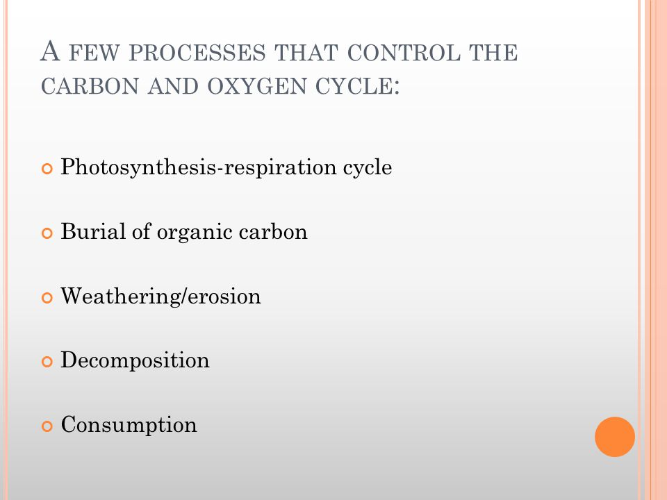 A FEW PROCESSES THAT CONTROL THE CARBON AND OXYGEN CYCLE : Photosynthesis-respiration cycle Burial of organic carbon Weathering/erosion Decomposition