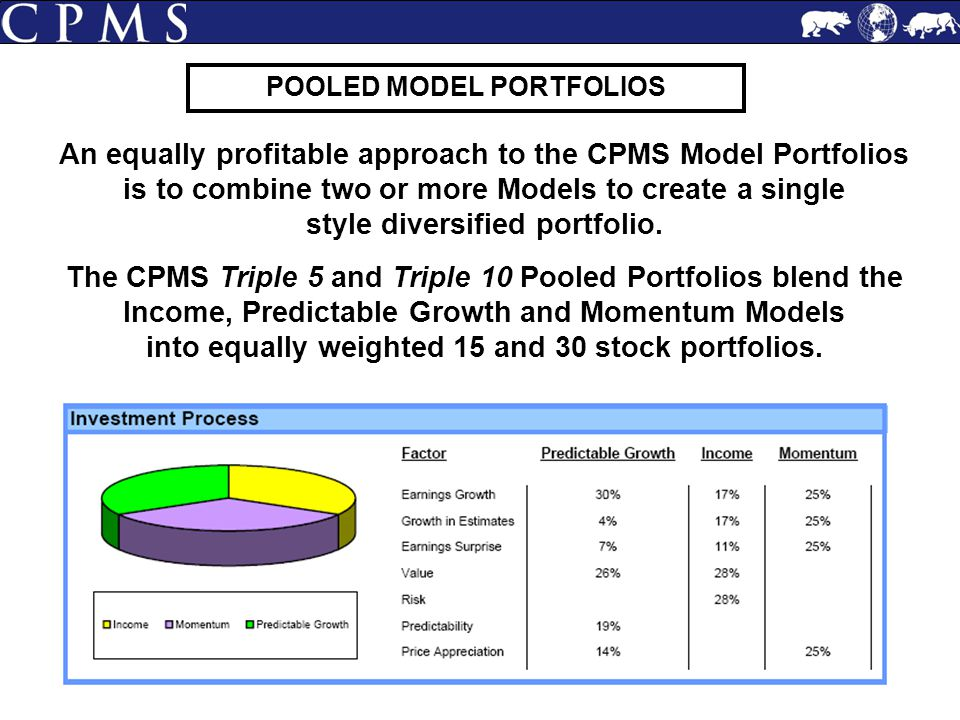An equally profitable approach to the CPMS Model Portfolios is to combine two or more Models to create a single style diversified portfolio. The CPMS