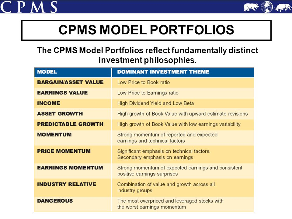 The CPMS Model Portfolios reflect fundamentally distinct investment philosophies.