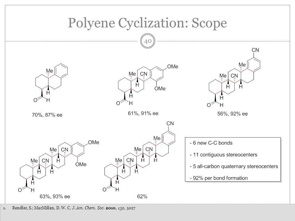 40 1.Rendler, S.; MacMillan, D. W. C. J. Am. Chem. Soc. 2010, 132, 5027 Polyene Cyclization: Scope