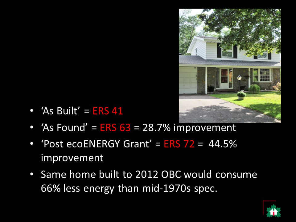 'As Built' = ERS 41 'As Found' = ERS 63 = 28.7% improvement 'Post ecoENERGY Grant' = ERS 72 = 44.5% improvement Same home built to 2012 OBC would consume 66% less energy than mid-1970s spec.